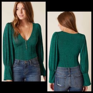 Free People Emerald Green Shimmer Blouse Top
